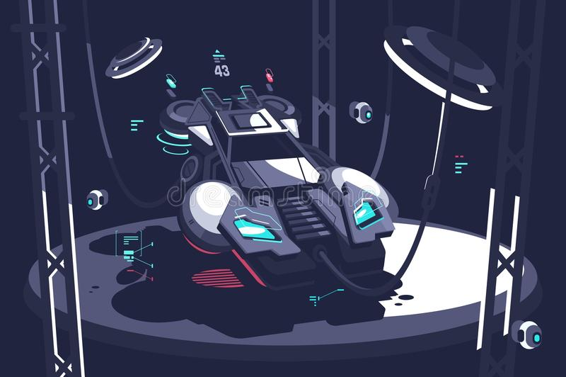 Futuro del coche de competición que vuela stock de ilustración