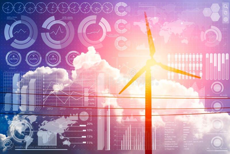 Futuro del poder y de la tecnología, turbina de viento con la información del negocio stock de ilustración