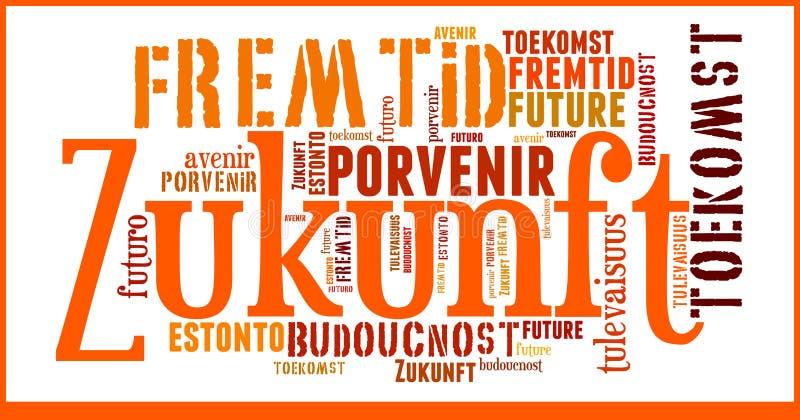 Futuro della nuvola di parola nelle lingue differenti fotografia stock