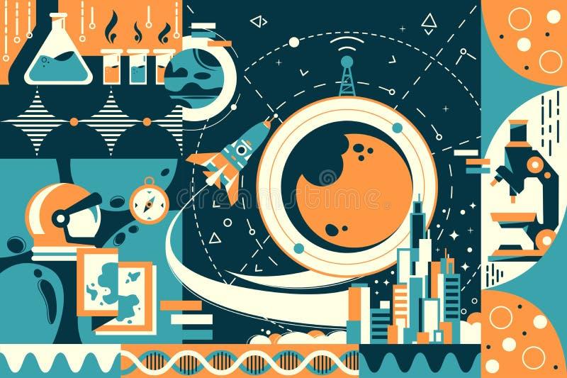 Futuro do conceito e ci?ncia moderna, cidade e espa ilustração stock