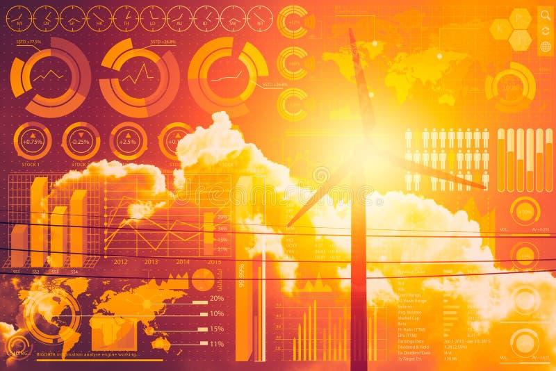 Futuro do poder e da tecnologia, turbina eólica com informação do negócio foto de stock royalty free