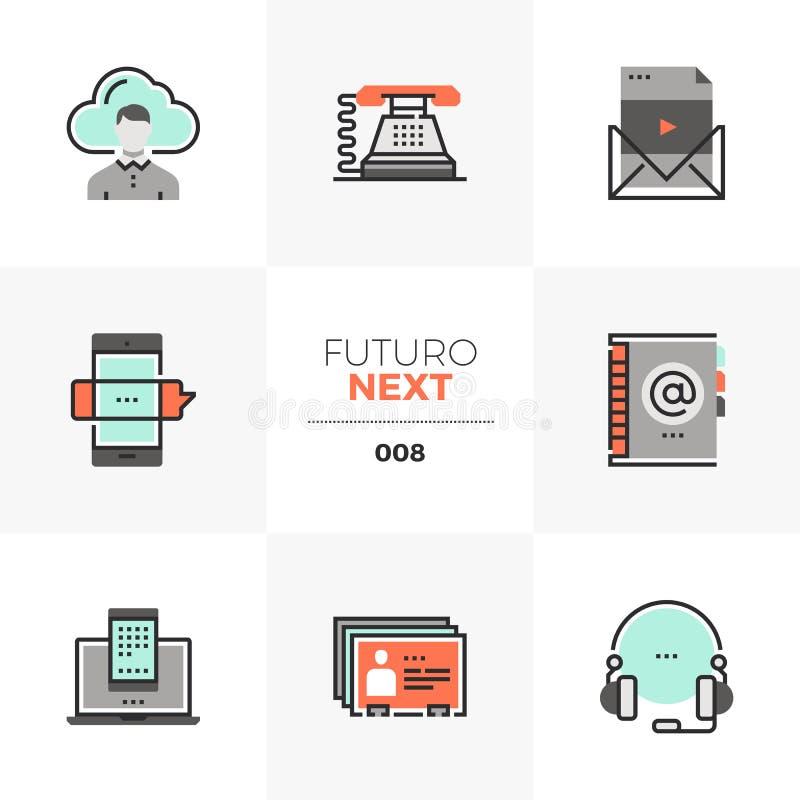 Futuro för affärskommunikationer nästa symboler royaltyfri illustrationer