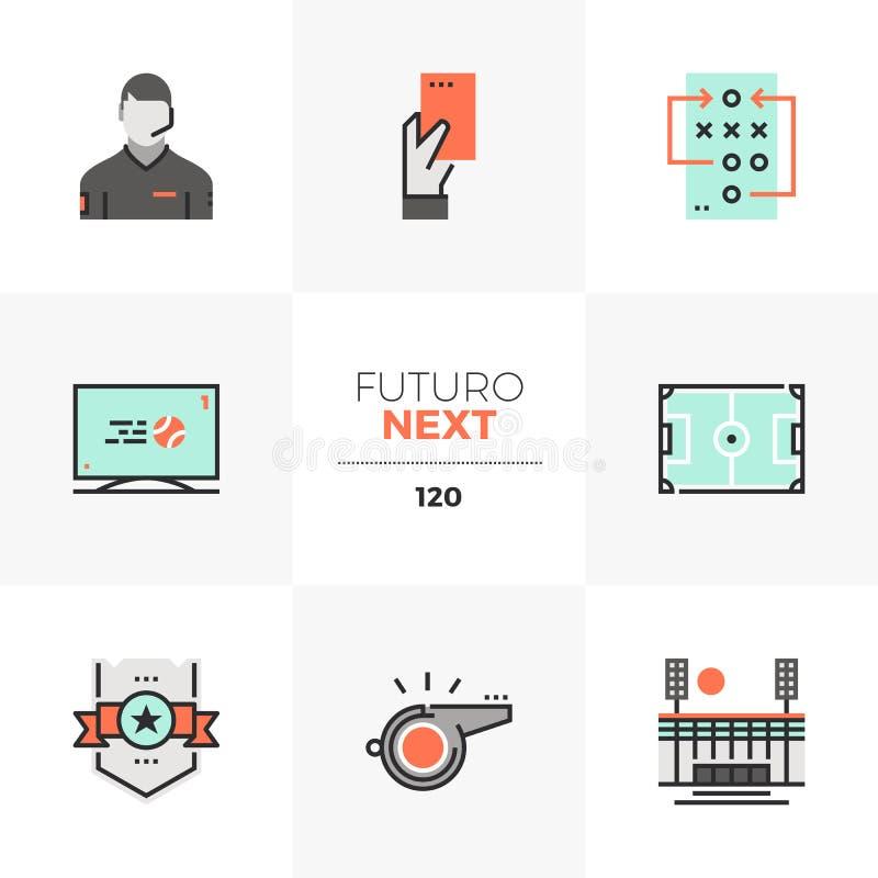 Futuro för fotbolllek nästa symboler stock illustrationer