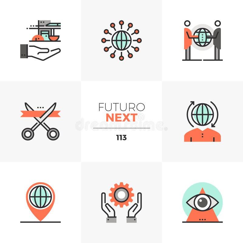 Futuro för global affär nästa symboler royaltyfri illustrationer