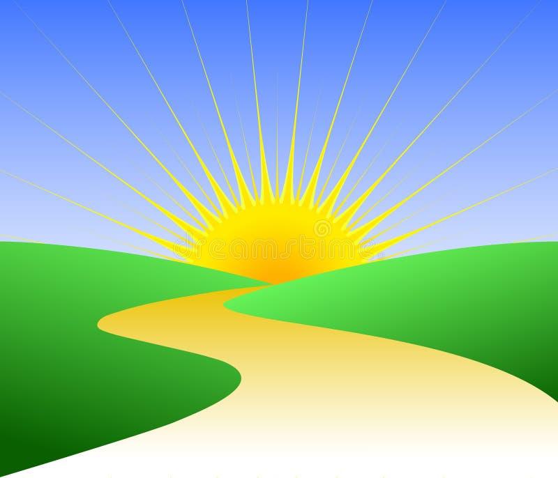 Futuro luminoso/ENV del percorso dorato illustrazione vettoriale