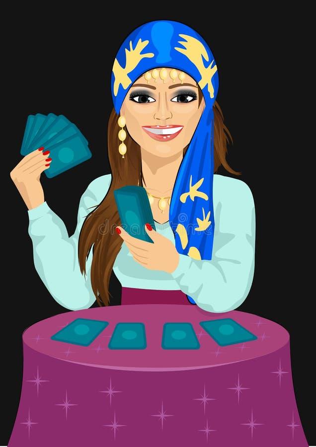 Futuro novo da previsão do caixeiro de fortuna com cartões de tarô ilustração royalty free