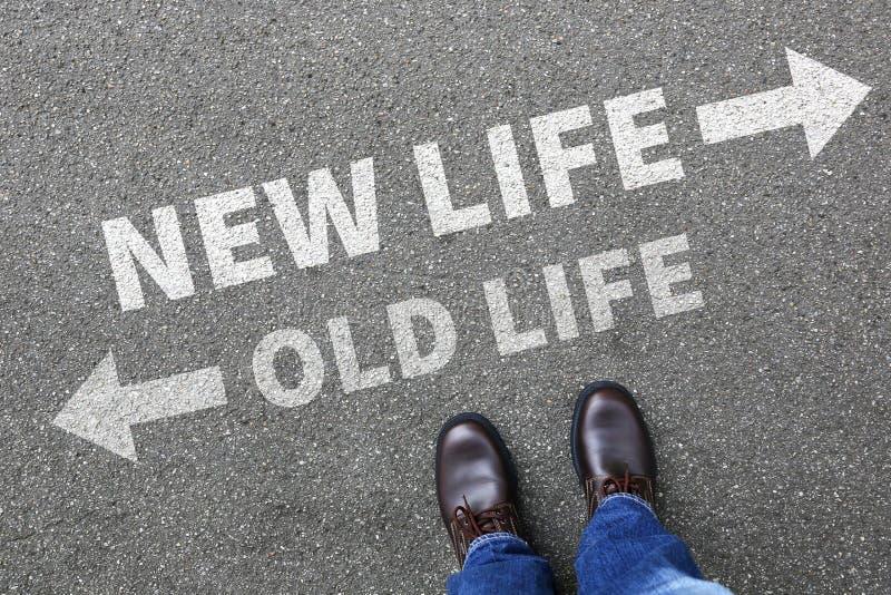 Futuro novo velho da vida após a mudança da decisão do sucesso dos objetivos imagens de stock royalty free