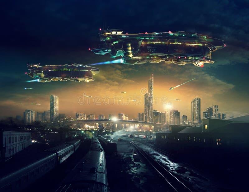 Futuro urbano del paisaje ilustración del vector