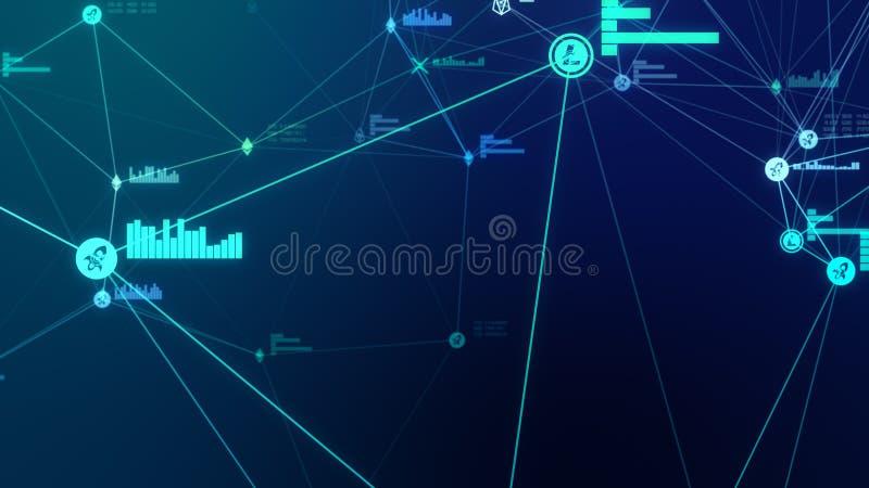 Futurystyczna abstrakcjonistyczna błękitna cryptocurrency sieci związku 3D ilustracja obraz stock