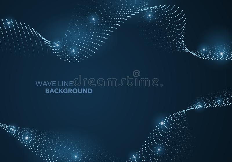 Futurystyczna abstrakt fali kropki gradientu linia i iluminujący lekki balowy szablonu tło ilustracji