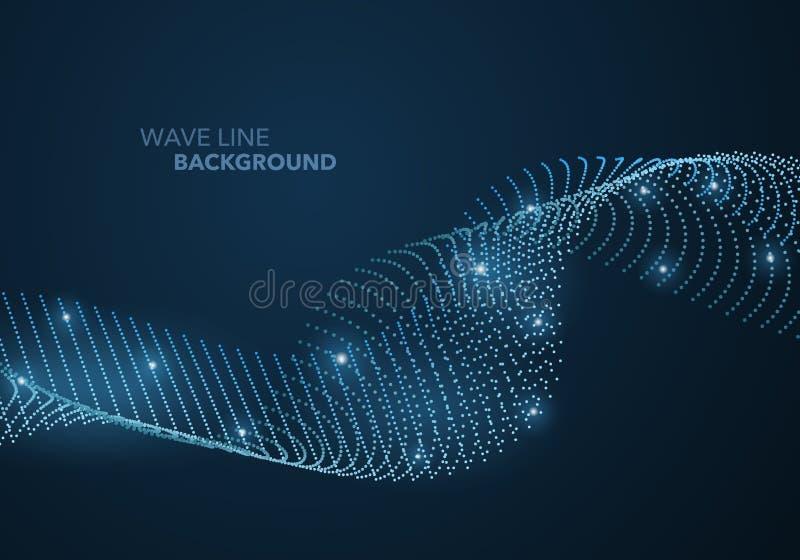 Futurystyczna abstrakt fali kropki gradientu linia i iluminujący lekki balowy szablonu tło royalty ilustracja
