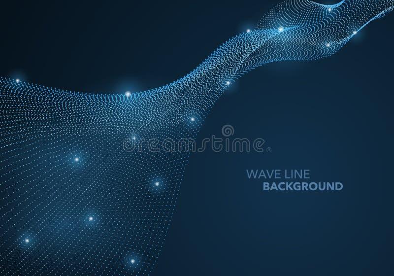 Futurystyczna abstrakt fali kropki gradientu linia i iluminujący lekki balowy szablonu tło ilustracja wektor