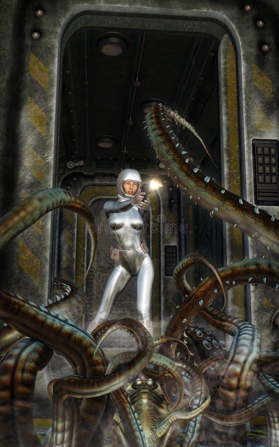 Futurystyczna astronauta dziewczyna z statku kosmicznego i obcego potworem ilustracja wektor