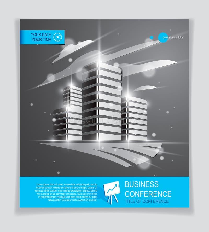Futurystyczna budynek reklama, nowożytna wektorowa architektury broszurka z zamazanymi światłami i świecenie skutek, Nieruchomośc royalty ilustracja