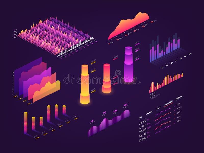 Futurystyczna 3d dane isometric grafika, biznesowe mapy, statystyki diagram i infographic wektorowi elementy, royalty ilustracja