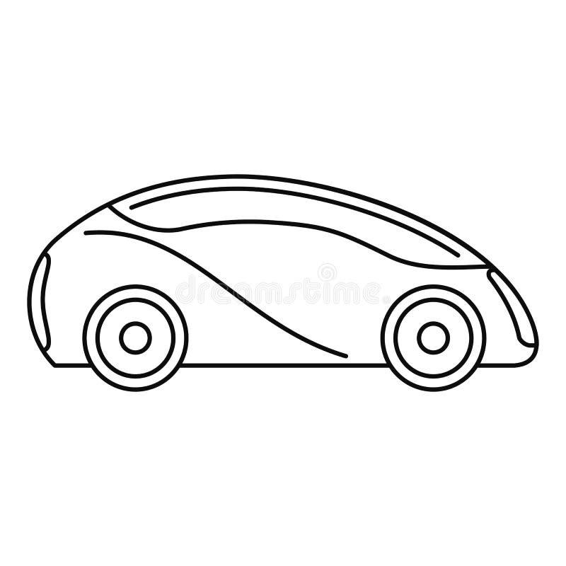 Futurystyczna driverless samochodowa ikona, konturu styl ilustracja wektor