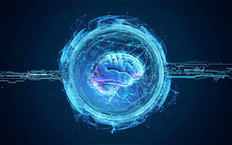Futurystyczna ilustracja hologram mózg ilustracja wektor