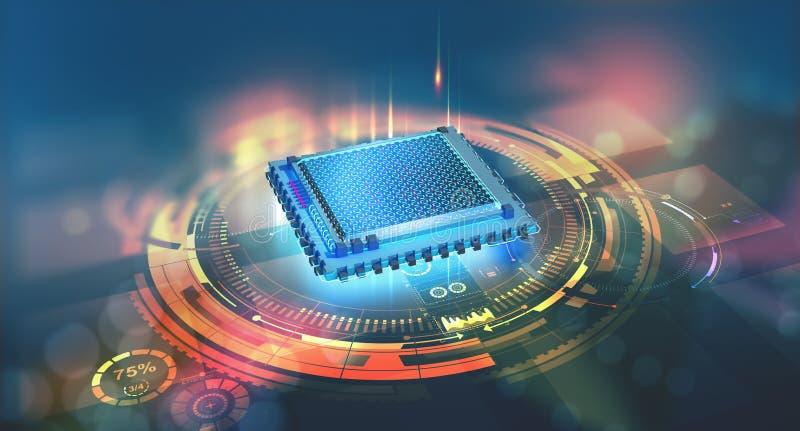 Futurystyczna jednostka centralna Kwantowy procesor w globalnej sieci komputerowej ilustracji
