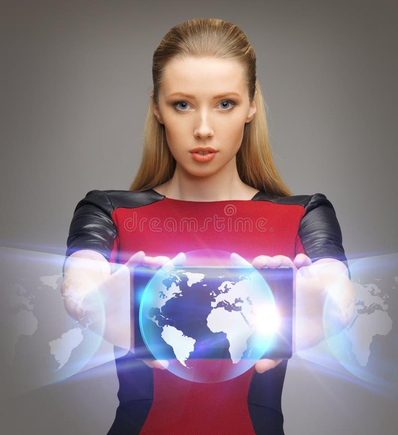 Futurystyczna kobieta z pastylka komputerem osobistym fotografia stock