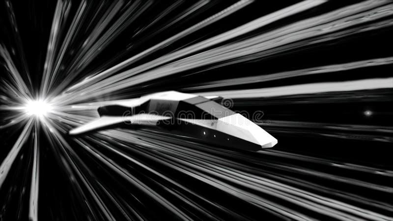 Futurystyczna latająca abstrakcjonistyczna maszyna w astronautycznych i rozjarzonych światło białe lampasach na czarnym tle, mono royalty ilustracja