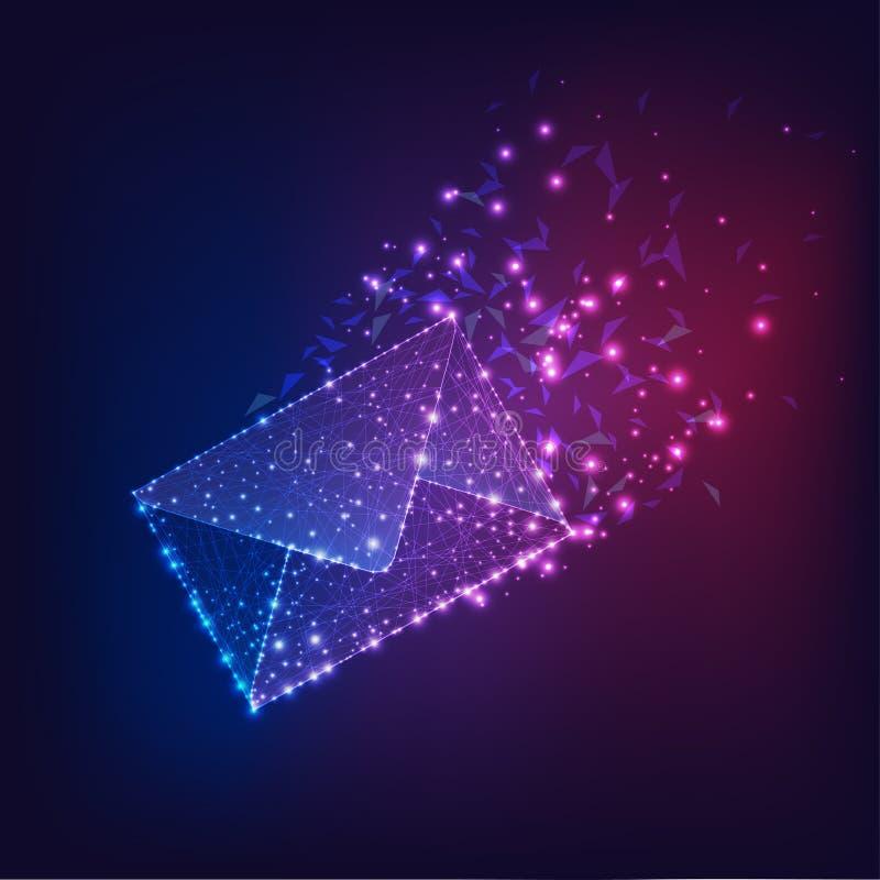 Futurystyczna latająca elektroniczna koperta, email na ciemnym gradientowym błękicie purpurowy tło royalty ilustracja
