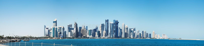 Futurystyczna linia horyzontu Doha w Katar zdjęcia royalty free