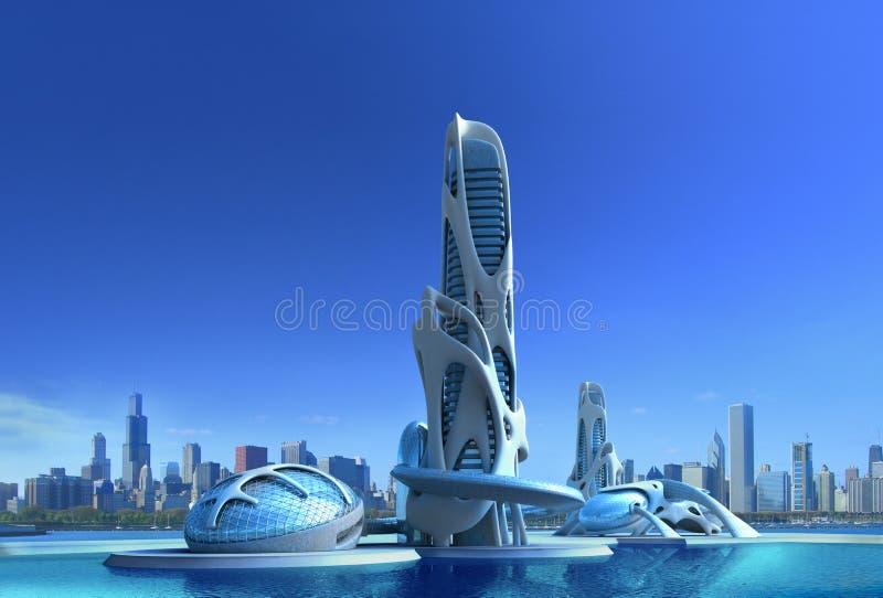 Futurystyczna miasto architektura dla fantazi i nauki fikci ilustracji