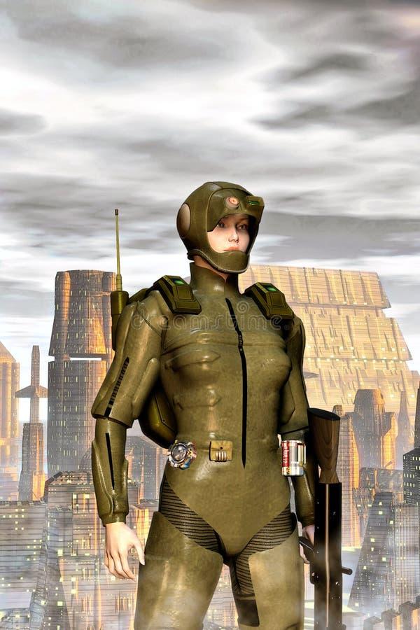Futurystyczna militarna dziewczyna ilustracji
