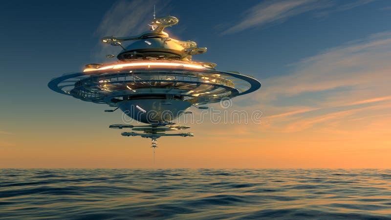 Futurystyczna niebo stacja