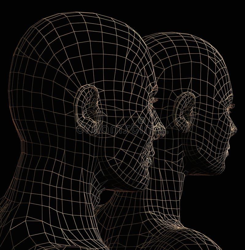 futurystyczna pary sylwetka ilustracji