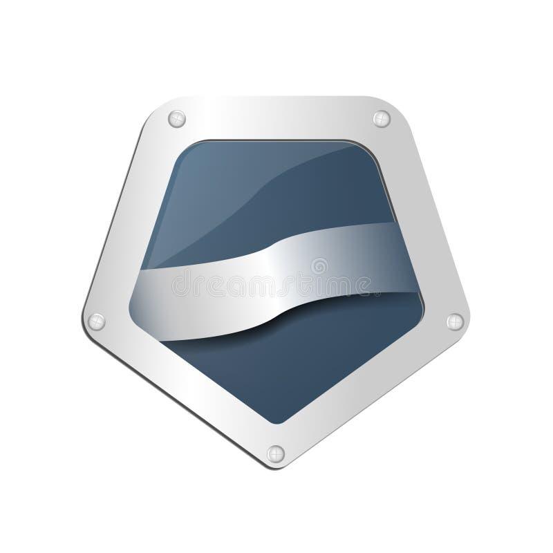 Futurystyczna Pentagon foka, logo lub ikona w kolorze, błękitnym i srebrzystym royalty ilustracja