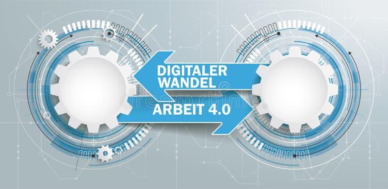 Futurystyczna 2 przekładni budowy strzała Digitaler Wandel Arbeit 4 ilustracja wektor