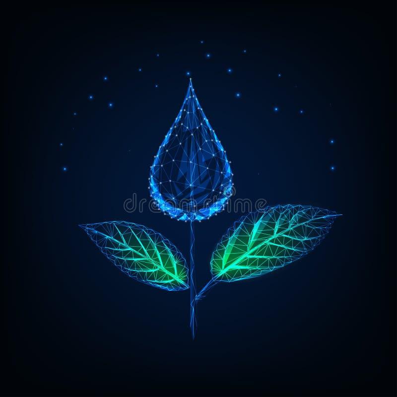 Futurystyczna rozjarzona niska poligonalna ro?lina robi? wody kropla jako kwiat i ziele? li?cie ilustracja wektor