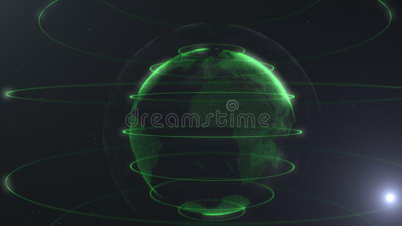 Futurystyczna sfera kropki Globalizacja interfejs Sens nauka i technika abstrakta grafika świadczenia 3 d royalty ilustracja