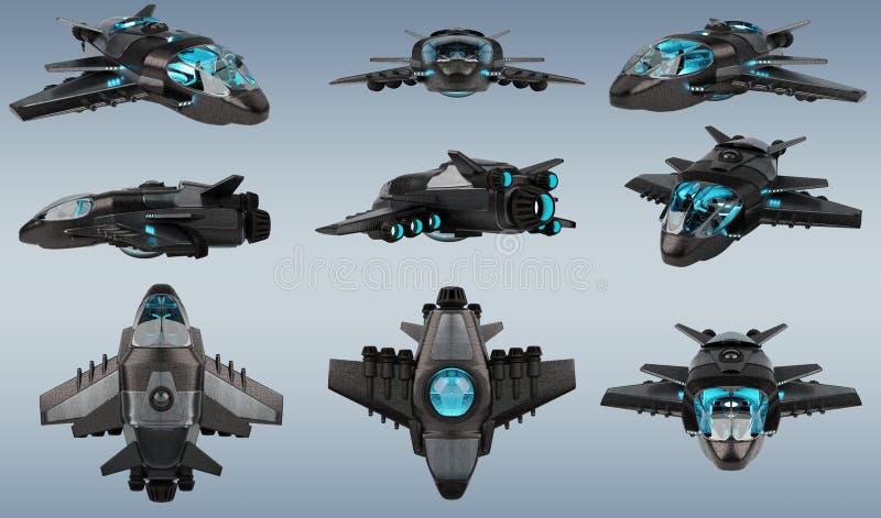 Futurystyczna statek kosmiczny kolekcja odizolowywająca na popielatym tle 3D royalty ilustracja