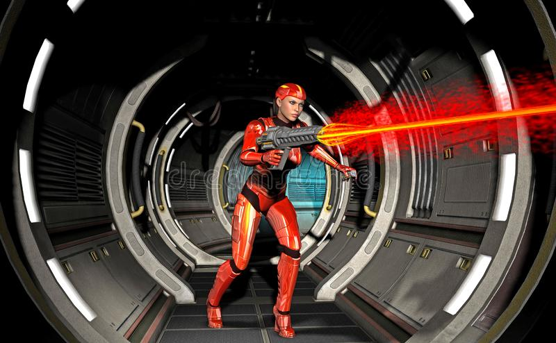 futurystyczna wojownik dziewczyna, strzela z ciężką bronią wśrodku statku kosmicznego, 3d ilustracja ilustracji