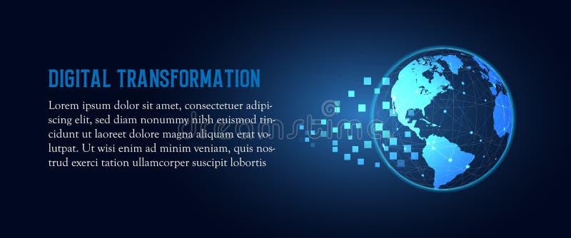 Futurystyczna zmiana błękit ziemi cyfrowej transformacji technologii abstrakcjonistyczny tło Sztuczna inteligencja i duzi dane royalty ilustracja