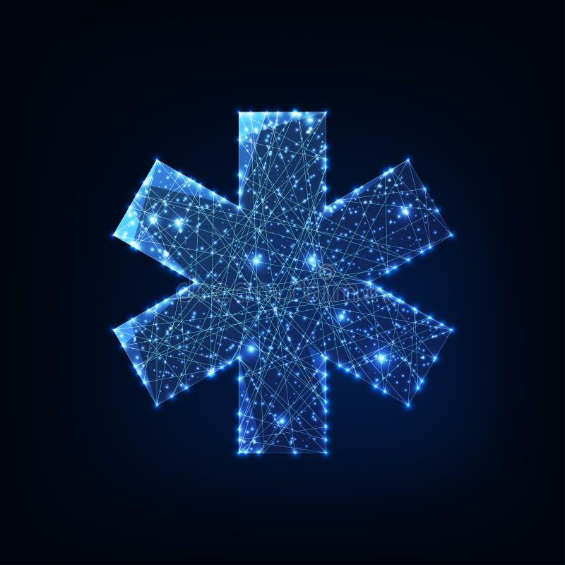 Futurystyczne, świecące gwiazdy wielobarwnego symbolu medycznego wyizolowane na ciemnoniebieskim tle ilustracji