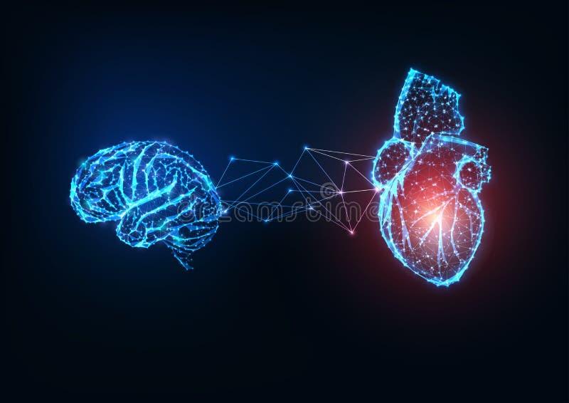 Futurystyczne, świecące nisko wielokątne organy ludzkie, mózg i serce, na ciemnoniebieskim tle ilustracji