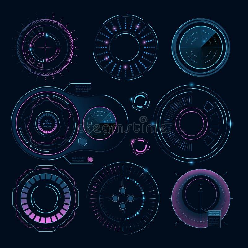 Futurystyczne cyfrowe grafika Hud promieniowi kształty dla sieć interfejsu royalty ilustracja