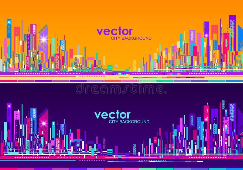 Futurystyczne miasto linie horyzontu przy dniem i nocą ilustracja wektor