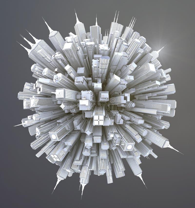 Futurystycznego fantastyka naukowa miasta uliczny widok, 3d cyfrowo ilustracja ilustracja wektor