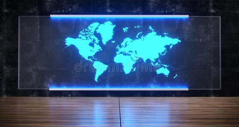 Futurystycznego fantastyka naukowa Sztucznej inteligenci pojęcia Światowa mapa Holo ilustracja wektor