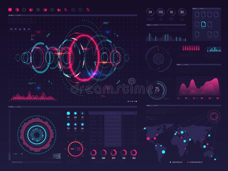Futurystycznego hud dotyka cyfrowy parawanowy pokaz z wizualną dane grafiką, panel i mapa wektorowy infographic szablon, ilustracja wektor