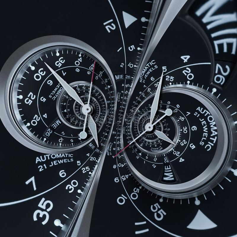 Futurystycznego nowożytnego czerni srebra zegarowego zegarka abstrakcjonistycznego fractal kopii surrealistyczna spirala Zegarek  ilustracja wektor