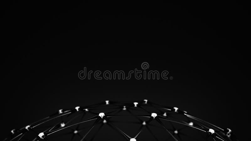 Futurystycznego plexus czerni kratownicy 3D szklany rendering royalty ilustracja