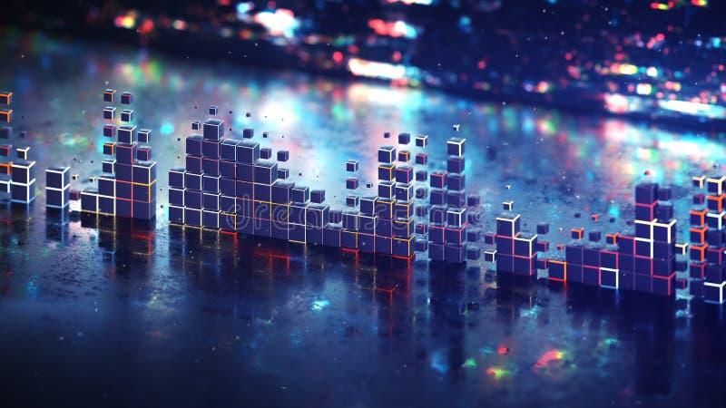 Futurystycznego tomowego metrowego wykresu wyrównywacza 3D renderingu muzyczna ilustracja ilustracja wektor