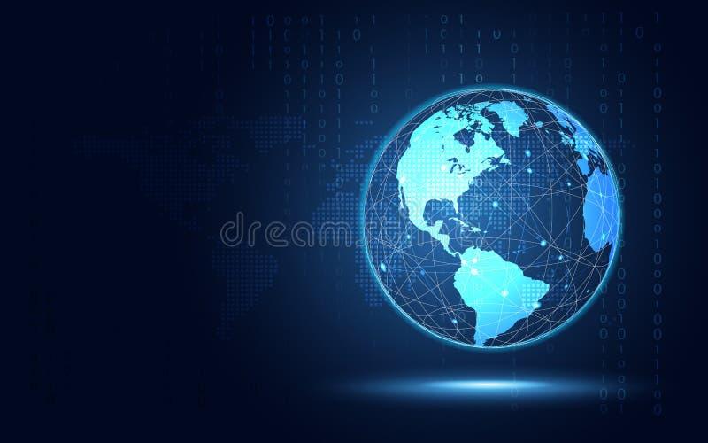 Futurystycznej błękit ziemi technologii abstrakcjonistyczny tło Sztucznej inteligencji cyfrowa transformacja i duży dane pojęcie royalty ilustracja