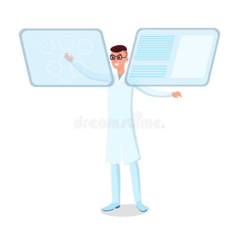 Futurystycznej technologii płaska wektorowa ilustracja Uśmiechnięci potomstwa lekarki, naukowiec w szkło charakterze Lekarza dzia ilustracji