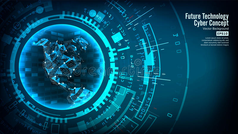 Futurystycznej technologii Podłączeniowa struktura pochodzenie wektora abstrakcyjne cyberprzestrzeń Elektroniczni dane Łączą glob royalty ilustracja